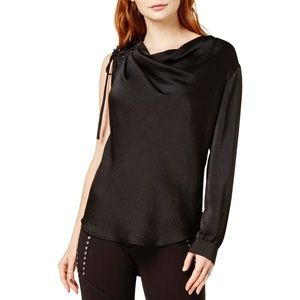 New Bar III Women's satin lace-up blouse Black XS